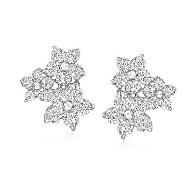 C. 1990 Vintage 1.00 ct. t.w. Diamond Flower Cluster Earrings in Platinum