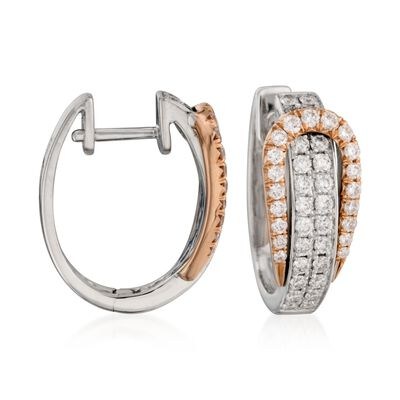 Simon G. .80 ct. t.w. Diamond Buckle Hoop Earrings in 18kt Two-Tone Gold, , default