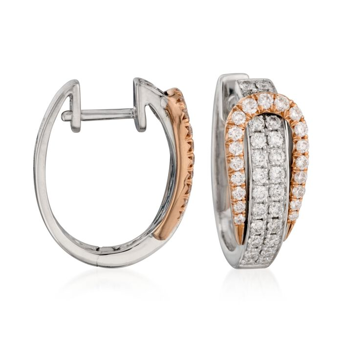Simon G. .80 Carat Total Weight Diamond and 18-Karat Two-Tone Gold Buckle Hoops, , default