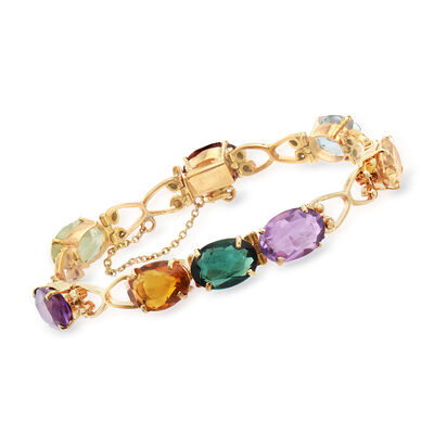 C. 1950 Vintage 15.25 ct. t.w. Multi-Gemstone Link Bracelet in 18kt Yellow Gold