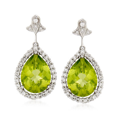 C. 1990 Vintage 5.00 ct. t.w. Peridot and .65 ct. t.w. Diamond Drop Earrings in 14kt White Gold, , default