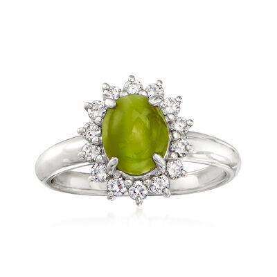 C. 1990 Vintage 2.33 Carat Chrysoberyl Cat's Eye and .34 ct. t.w. Diamond Ring in Platinum