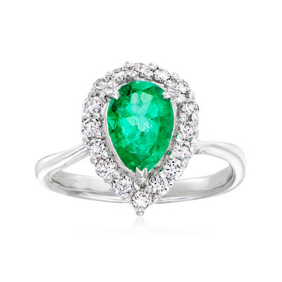 C. 1990 Vintage 1.04 Carat Emerald and .39 ct. t.w. Diamond Ring in 14kt Yellow Gold