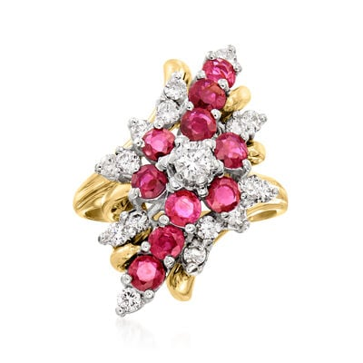 C. 1980 Vintage 1.80 ct. t.w. Ruby and .85 ct. t.w. Diamond Cluster Ring in 14kt Yellow Gold