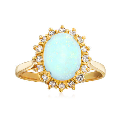 C. 1970 Vintage Opal and .35 ct. t.w. Diamond Ring in 14kt Yellow Gold, , default