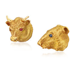 C. 1980 Vintage 18kt Yellow Gold Pin Set: Bear and Bull With Ruby and Sapphire Accents, , default