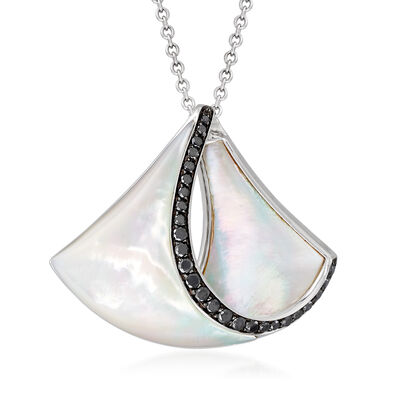 C. 2000 Vintage Carved Mother-Of-Pearl and .79 ct. t.w. Diamond Drop Necklace in 18kt White Gold
