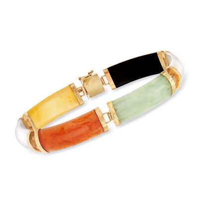 C. 1990 Vintage Multicolored Jade Bracelet in 14kt Yellow Gold, , default