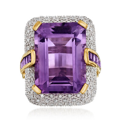 C. 1980 Vintage 13.20 ct. t.w. Amethyst and .25 ct. t.w. Pave Diamond Ring in 14kt Yellow Gold, , default