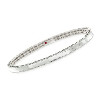"Roberto Coin Symphony Princess .61 Carat Total Weight Diamond Bangle in 18-Karat White Gold. 7"", , default"