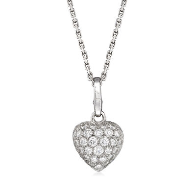 C. 1980 Vintage Cartier .90 ct. t.w. Diamond Heart Pendant Necklace in 18kt White Gold, , default