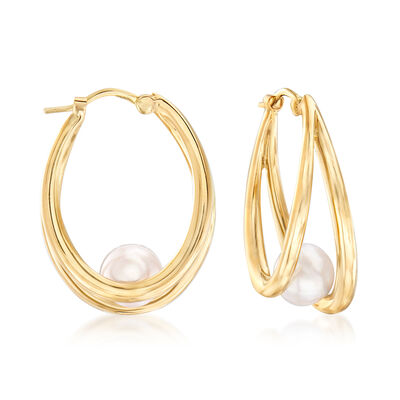 "Mikimoto ""Japan"" 6mm A+ Akoya Pearl Hoop Earrings in 18kt Yellow Gold, , default"