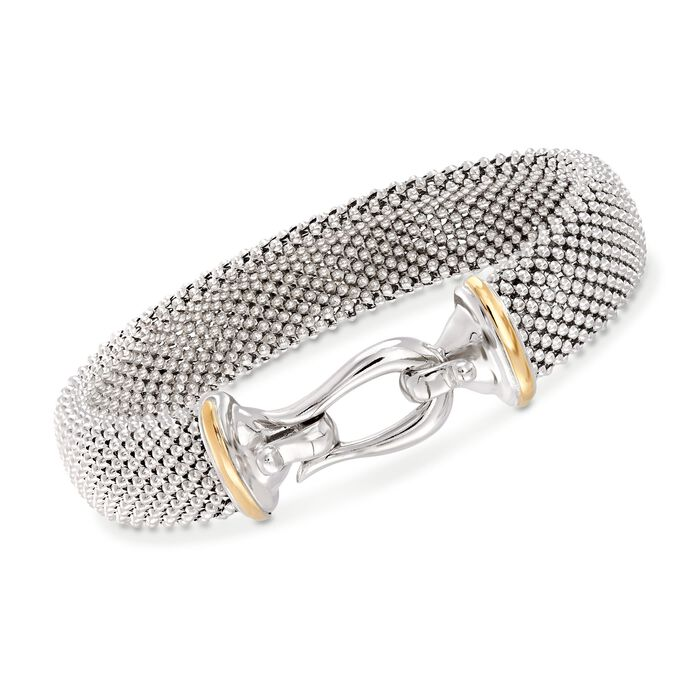 "Phillip Gavriel ""Popcorn"" Sterling Silver and 18kt Gold Hook Clasp Bracelet. 7.5"", , default"