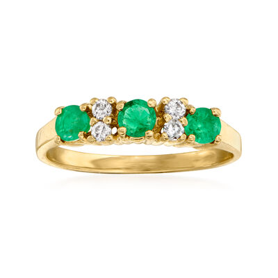 C. 1980 Vintage .45 ct. t.w. Emerald and .10 ct. t.w. Diamond Ring in 14kt Yellow Gold