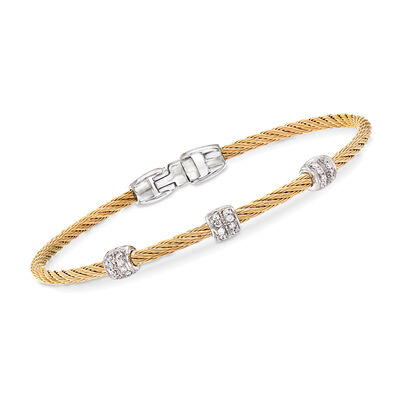"ALOR ""Classique"" .21 ct. t.w. Diamond Yellow Stainless Steel Cable Bracelet with 18kt White Gold"