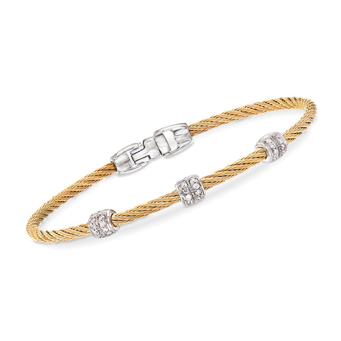 """ALOR """"Classique"""" .21 ct. t.w. Diamond Yellow Stainless Steel Cable Bracelet with 18kt White Gold. 7"""""""