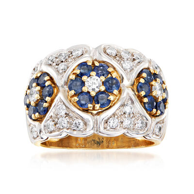 C. 1980 Vintage 1.50 ct. t.w. Sapphire Flower and .65 ct. t.w. Diamond Heart Ring in 18kt Two-Tone Gold