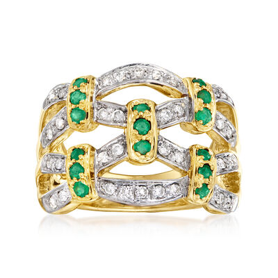 C. 1980 Vintage .35 ct. t.w. Emerald and .25 ct. t.w. Diamond Fashion Ring in 14kt Yellow Gold