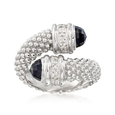 "Phillip Gavriel ""Popcorn"" Black Onyx and .14 ct. t.w. Diamond Bypass Ring in Sterling Silver, , default"