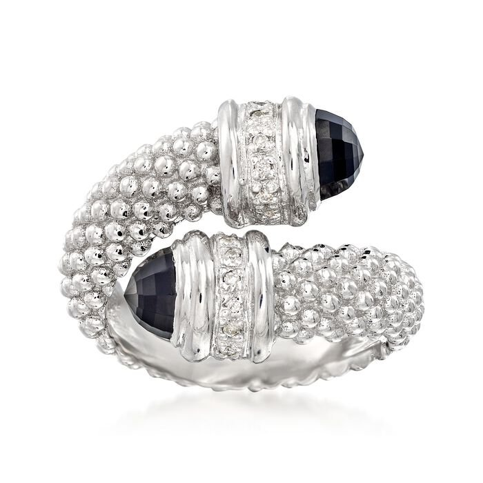 "Phillip Gavriel ""Popcorn"" Black Onyx and .14 ct. t.w. Diamond Bypass Ring in Sterling Silver. Size 7, , default"