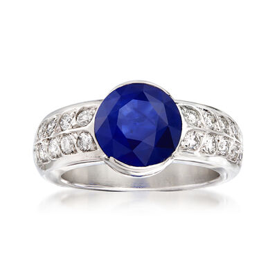 C. 1980 Vintage 3.56 Carat Sapphire and .60 ct. t.w. Diamond Ring in 18kt White Gold