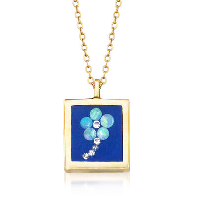 C. 1990 Vintage Opal Flowerbox Pendant Necklace with Diamond Accents in 14kt Yellow Gold, , default