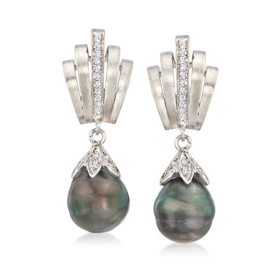 C. 1980 Vintage Black Cultured Pearl and .80 ct. t.w. Diamond Drop Earrings in 18kt White Gold