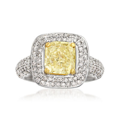 2.91 ct. t.w. Light Yellow and White Certified Diamond Halo Ring in 18kt White Gold