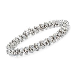 C. 2000 Vintage 8.40 ct. t.w. Bezel-Set Diamond Bracelet in 18kt White Gold, , default