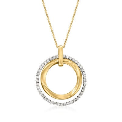 C. 2000 Vintage Effy 1.00 ct. t.w. Diamond Double-Circle Pendant Necklace in 14kt Yellow Gold