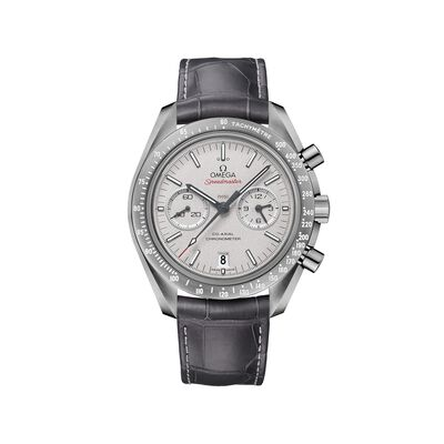 Omega Speedmaster Gray Moon Men's 44.25mm Gray Ceramic Watch with Gray Leather Strap