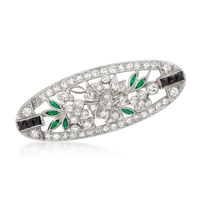 C. 1970 Vintage 1.35 ct. t.w. Diamond and .16 ct. t.w. Tsavorite Oval Flower Pin with Black Onyx in Platinum