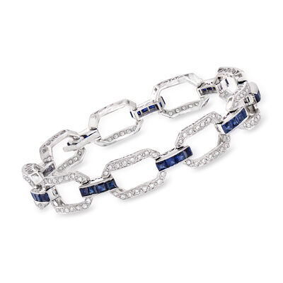 C. 1980 Vintage 3.60 ct. t.w. Sapphire and 1.15 ct. t.w. Diamond Link Bracelet in 18kt White Gold