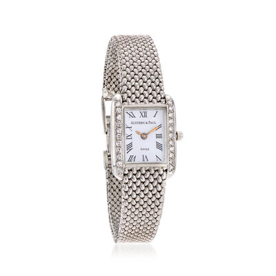 C. 1990 Vintage Austern & Paul Women's 23mm .54 ct. t.w. Diamond Quartz Watch in 14kt White Gold, , default