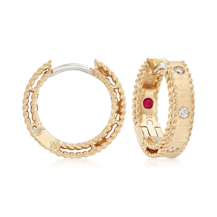 "Roberto Coin ""Symphony Princess Diamond-Accented Hoop Earrings in 18kt Yellow Gold. 1/2"""