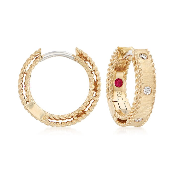 "Roberto Coin ""Symphony Princess Diamond-Accented Hoop Earrings in 18kt Yellow Gold. 1/2"", , default"