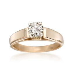 C. 1980 Vintage .60 Carat Solitaire Engagement Ring in 14kt Yellow Gold, , default