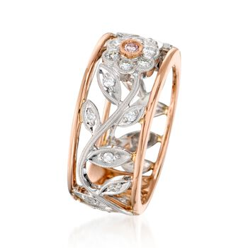 Simon G. .30 ct. t.w. Diamond Floral Band Ring in 18kt Two-Tone Gold , , default