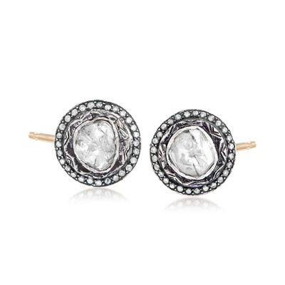 C. 1990 Vintage 2.30 ct. t.w. Diamond Earrings in Sterling Silver and 14kt Yellow Gold