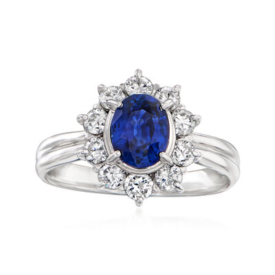 C. 1980 Vintage 1.07 Carat Sapphire and .70 ct. t.w. Diamond Ring in Platinum