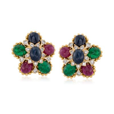 C. 1990 Vintage 21.20 ct. t.w. Multi-Stone and 1.00 ct. t.w. Diamond Floral Clip-On Earrings in 18kt Yellow Gold, , default