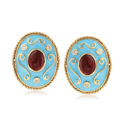 C. 1970 Vintage 4.80 ct. t.w. Garnet and Blue Enamel Earrings in 14kt Gold With Diamond Accents, , default