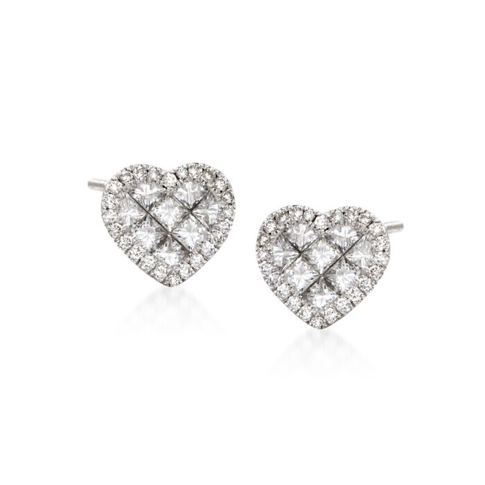 Roberto Coin .95 Carat Total Weight Diamond Heart Studs in 18-Karat White Gold, , default