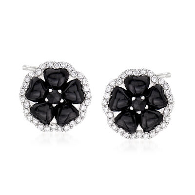 C. 1990 Vintage Crivelli Black Onyx and .50 ct. t.w. Diamond Flower Earrings in 18kt White Gold