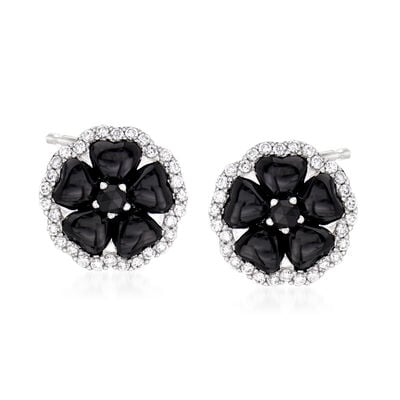 C. 1990 Vintage Crivelli Black Onyx and .50 ct. t.w. Diamond Flower Earrings in 18kt White Gold, , default