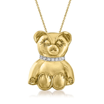 C. 1980 Vintage 14kt Yellow Gold Teddy Bear Pendant Necklace with Diamond-Accented Collar