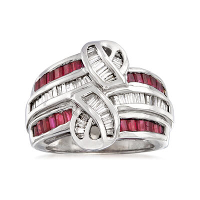 C. 1980 Vintage 1.25 ct. t.w. Ruby and .90 ct. t.w. Diamond Swirl Ring in 14kt White Gold, , default