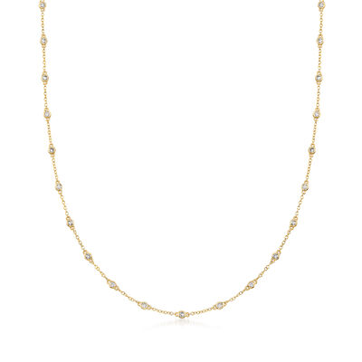 1.00 ct. t.w. Bezel-Set Diamond Station Necklace in 14kt Yellow Gold
