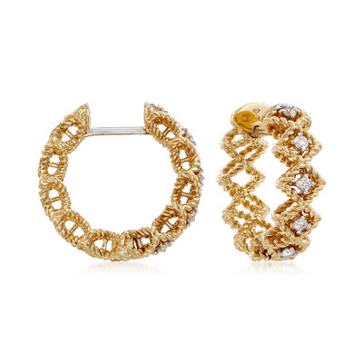 "Roberto Coin ""Barocco"" Diamond Hoop Earrings in 18kt Yellow Gold, , default"
