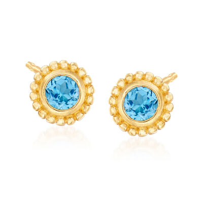 "Phillip Gavriel ""Popcorn"" .60 ct. t.w. Blue Topaz Stud Earrings in 14kt Yellow Gold"